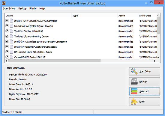 Choose Drivers to Backup